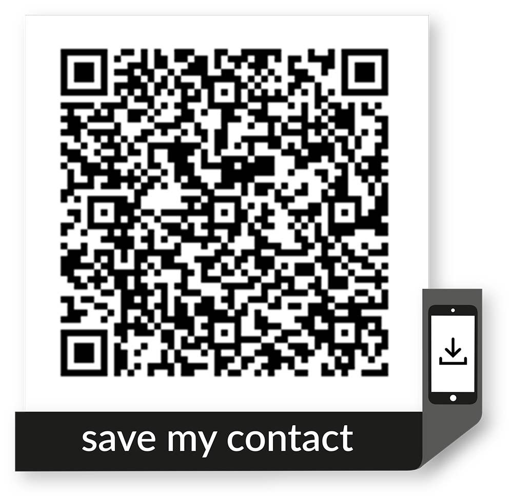 scan with your cell phone camera to save our vcard contact info